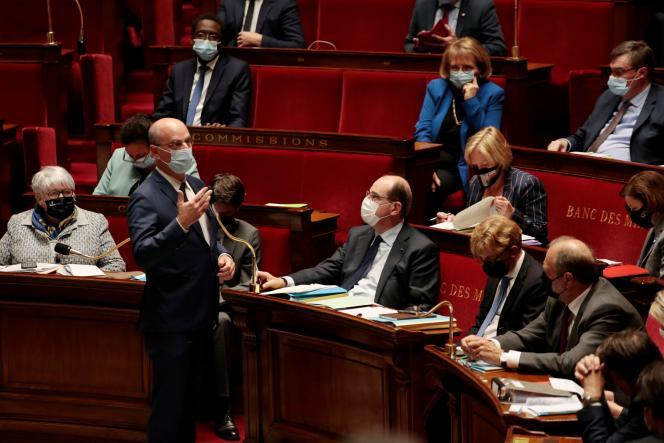 Le ministre de l'éducation nationale, Jean-Michel Blanquer, à l'Assemblée nationale, à Paris, le 4 mai.