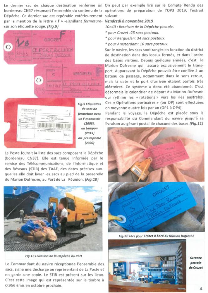 Conditionnement du courrier à destination des bases australes françaises (page du hors-série du «Lien philatélique» sur« Le courrier des TAAF, la dépêche. Pas si simple!», édité par l'Amicale philatélique de Nanterre).