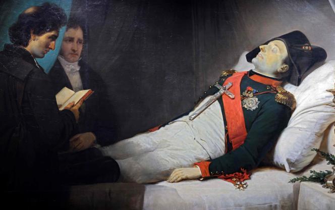 Uma pintura de Jean-Baptiste Moses, 1843, mostra Napoleão I em seu leito de morte.