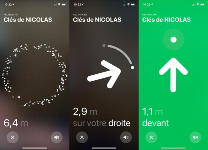 Quand on s'approche de l'AirTag, l'iPhone guide l'utilisateur en trois étapes.