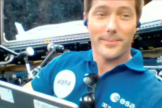 Thomas Pesquet lors d'une liaison avec la Station spatiale internationale, le 6 mai 2021.