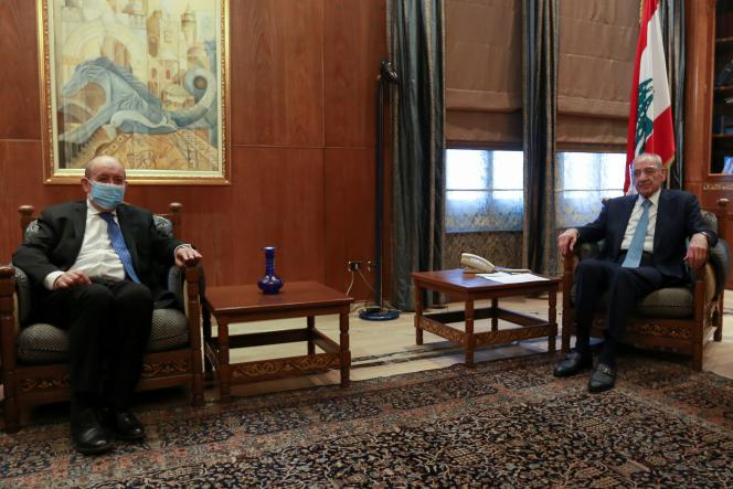 وزیر امور خارجه فرانسه ژان ایو لودریان در 6 مه با نبی بری رئیس پارلمان لبنان در بیروت لبنان دیدار کرد.
