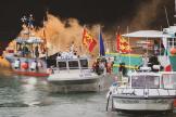 Des bateaux de pêche français, au large de l'île de Jersey, le 6 mai 2021.