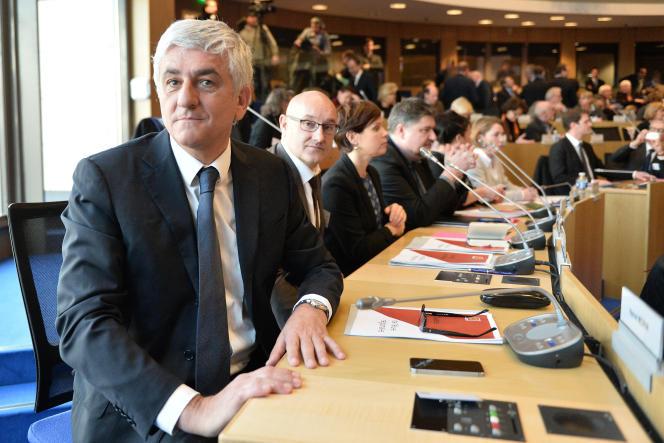Hervé Morin (Les Centristes), le jour de son élection à la présidence de la région Normandie, à Rouen, le 4 janvier 2015.