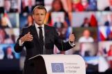 Le président français, Emmanuel Macron, devant le Parlement européen à Strasbourg, le 9 mai 2021.