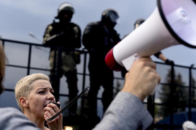 Maria Kolesnikova, lors d'une manifestation contre les résultats de l'élection présidentielle, à Minsk, le 30 août 2020.
