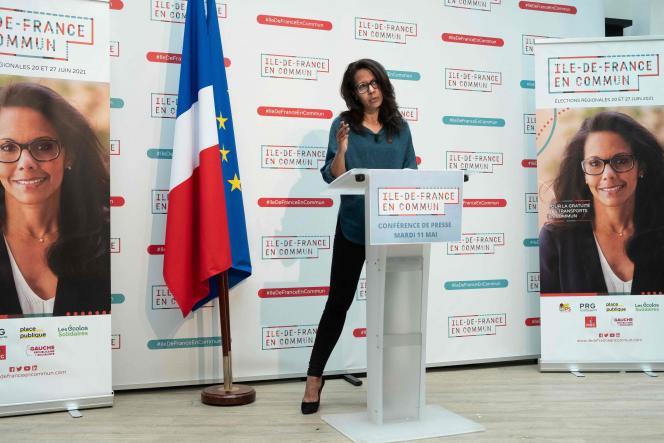 Audrey Pulvar lors d'une conférence de presse dans son QG de campagne, mardi 11 mai.