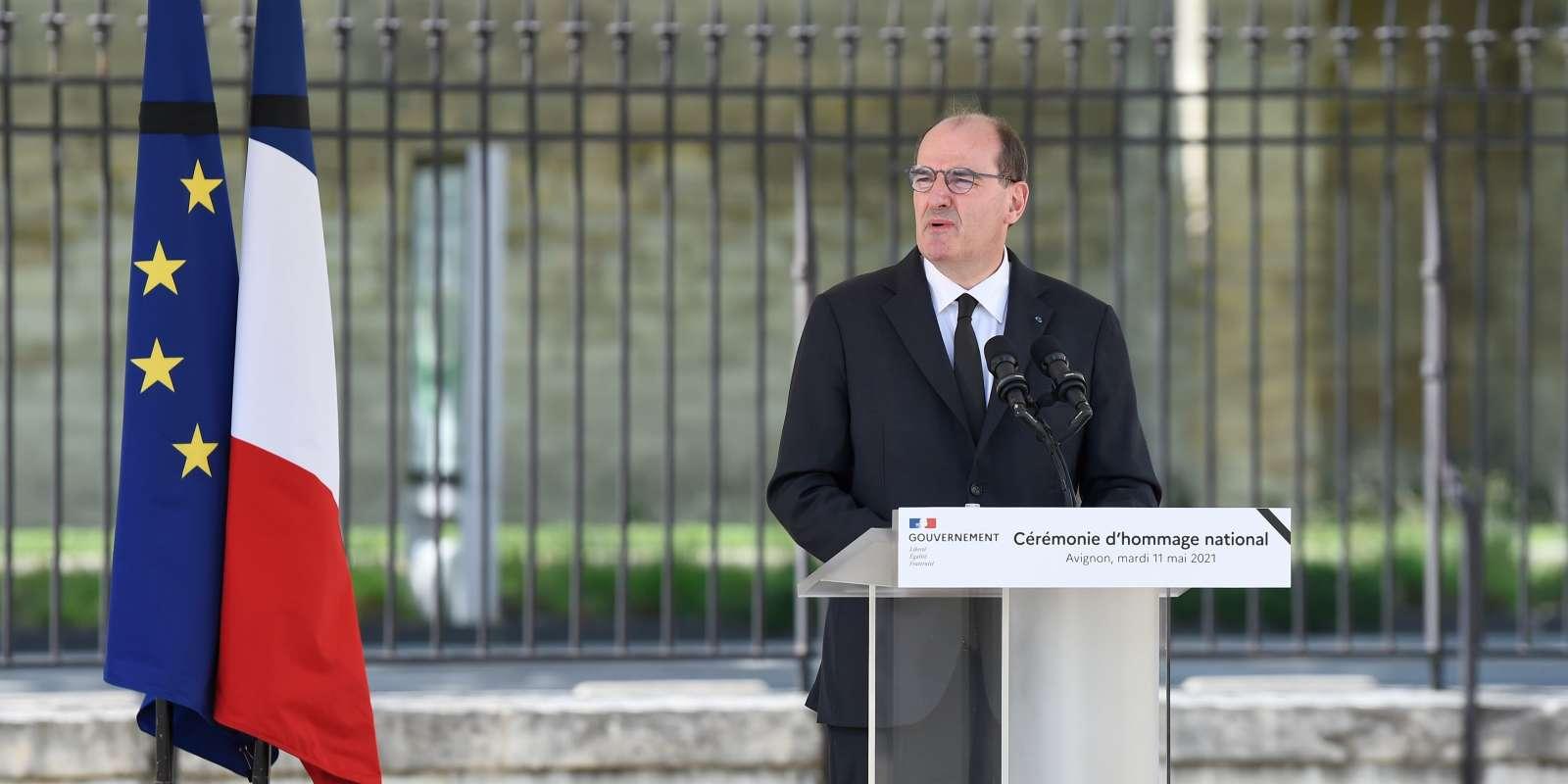 Jean Castex, premier ministre, lors de l'hommage au policier tué à Avignon, le 11 mai 2021.