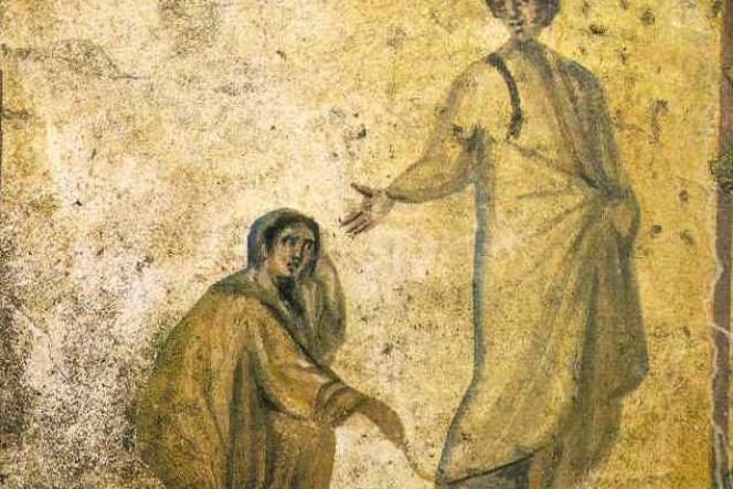Guérison de la femme hémorroïsse, catacombes de Rome.