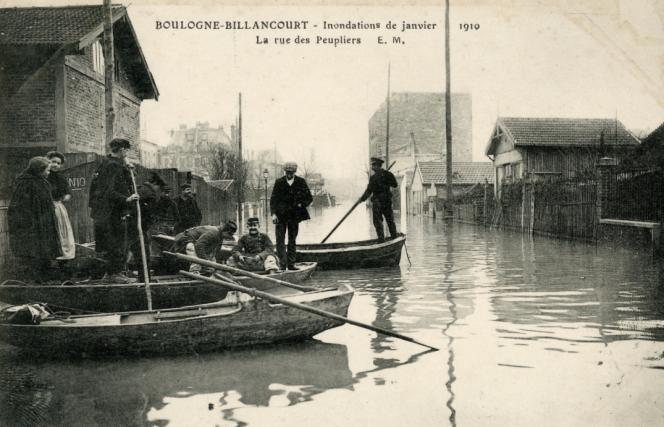 Boulogne-Billancourt sous les eaux en 1910.