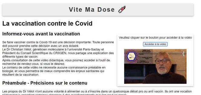 Le faux site Vite ma dose renvoie vers un discours vaccinosceptique de 2020.