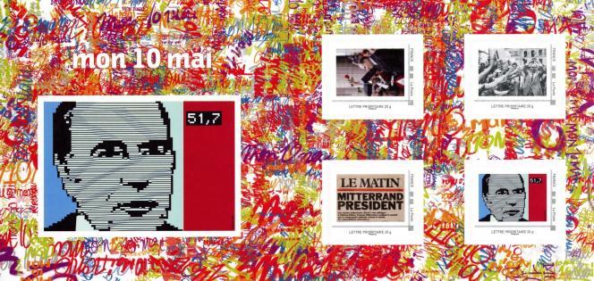 « Collector» de quatre timbres: 30e anniversaire de l'élection de François Mitterrand.