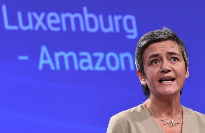 Margaret Westager, commissaris voor mededinging van de Europese Unie, tijdens een persconferentie over staatssteun aan Amazon op 4 oktober 2017.