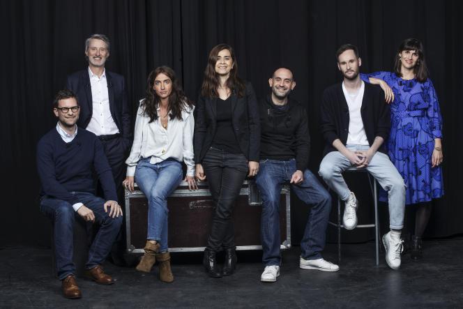 De gauche à droite : Nicolas Mathieu, Antoine de Caunes, Maria Pourchet, Négar Djavadi, Johann Zarca, Julien Dufresne-Lamy et Myriam Leroy pour l'émission«Profession».