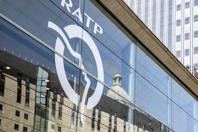 A picture taken on August 28, 2018 shows the RATP (Autonomous Operator of Parisian Transports) headquarters in Paris. (Photo by JOEL SAGET / AFP)