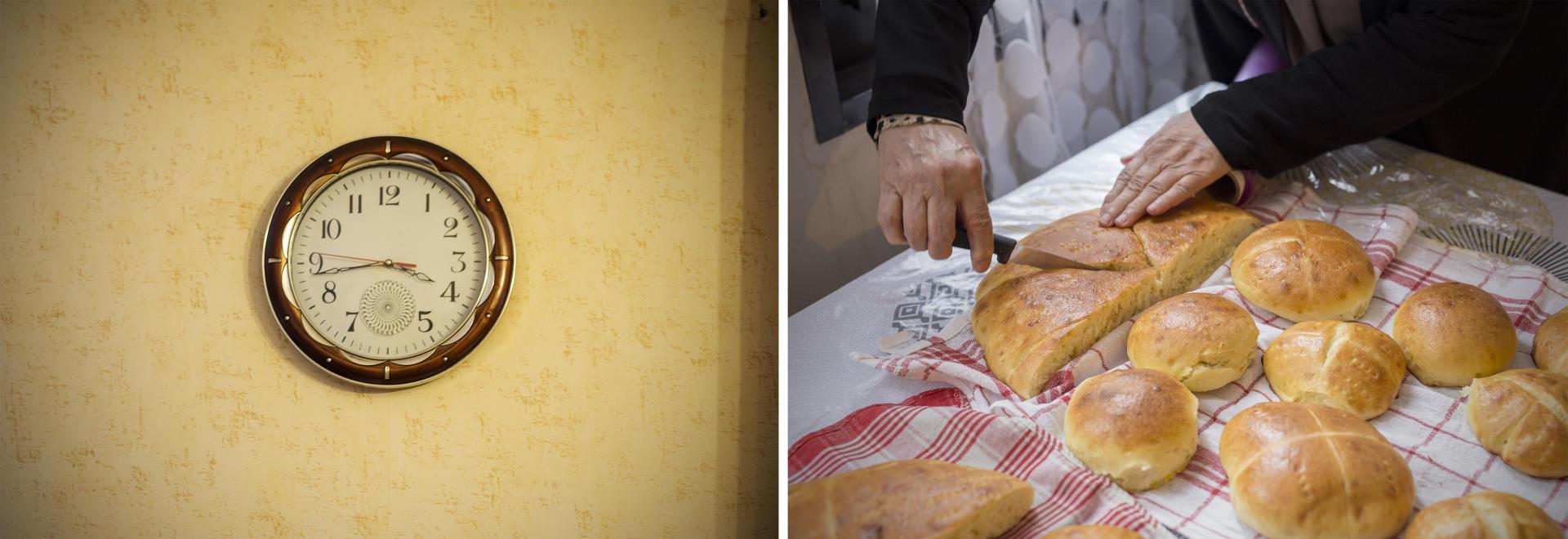 در سمت چپ ، در Katouja Attouche ، ساعت برای صبحانه متوقف شده است.  در سمت راست ، زورا بنومر برای