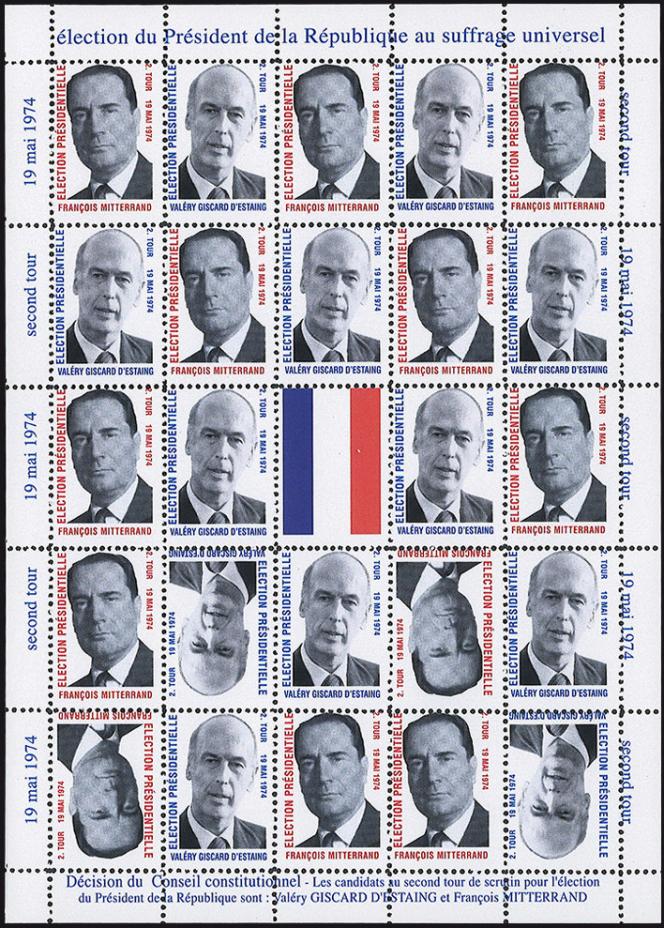 Feuillet de vignettes non postales édité pour le second tour de la présidentielle de 1974.