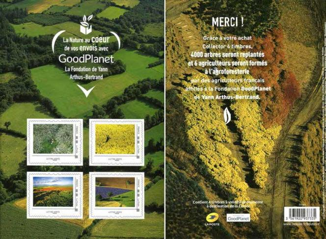 Collector de quatre timbres, d'après des photos de Yann Arthus-Bertrand.