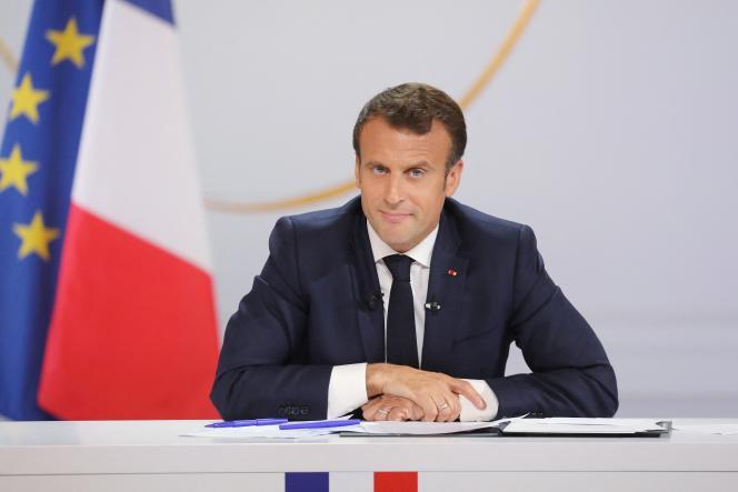 Emmanuel Macron lors de son discours à la suite du grand débat national, à l'Elysée, le 25 avril 2019.