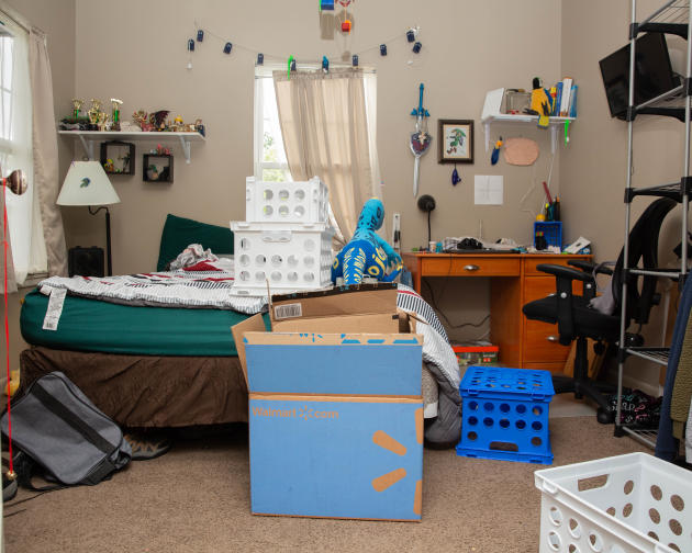 La chambre de Cas Spurrier qui se prépare pour son déménagement de Little Rock, Arkansas, au Nouveau-Mexique.