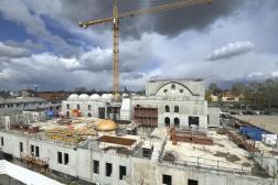 La mosquée Eyyûb Sultan en construction à Strasbourg, le 6 avril 2021.