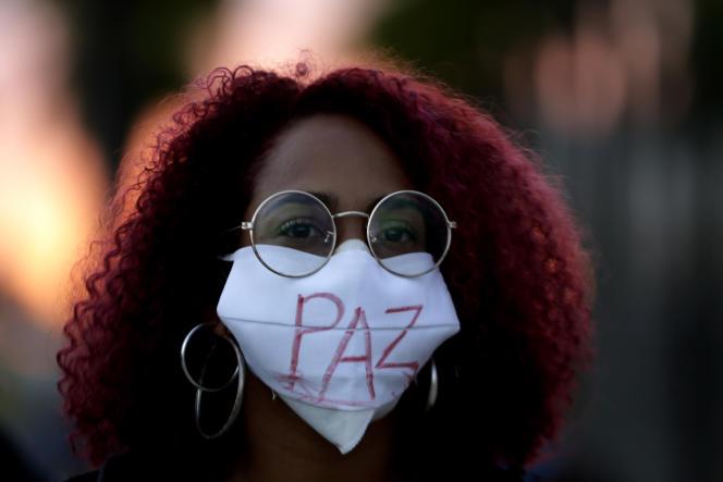 Lors d'une manifestation contre les politiques gouvernementales, à Rio de Janeiro, au Brésil, le 13mai 2021.