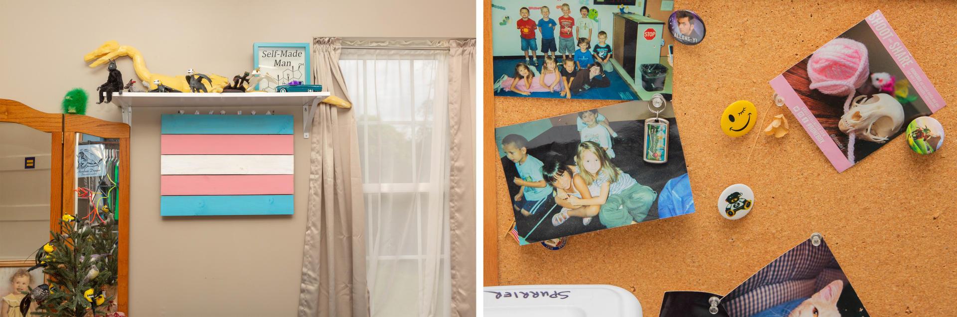 Un drapeau transgenre est accroché au mur de la chambre de Cas Spurrier sous une étagère remplie de figurines qu'il a fabriquées de ses personnages préférés. Un pêle-mêle de photos de famille dans la maison des Spurrier le 12 mai 2021.