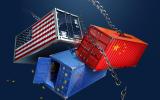 Illustration. Conteneurs américain, chinois et européens en orbite World rights except UK