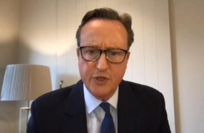 Capture d'écran prise durant la comparution de David Cameron, le 13 mai, devant une commission d'enquête parlementaire sur« l'affaire Greensill».