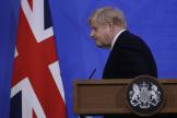Le premier ministre britannique, Boris Johnson, lors d'une conférence de presse sur l'épidémie de Covid-19, à Londres, le 14 mai 2021.