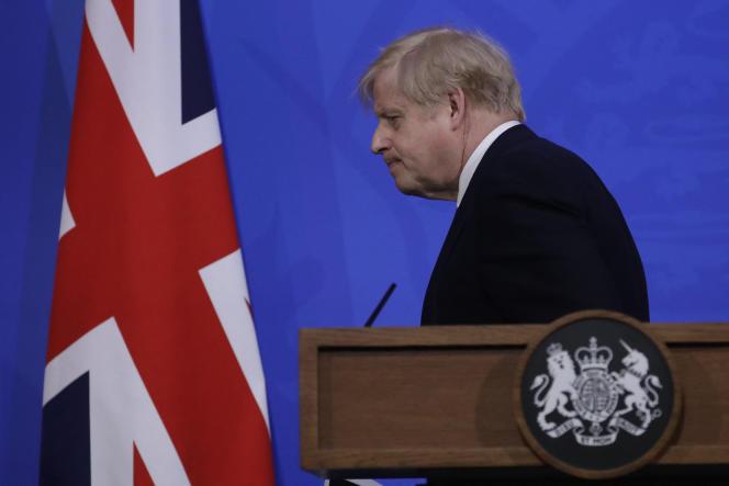 Der britische Premierminister Boris Johnson bei einer Pressekonferenz über die Covid-19-Pandemie in London am 14. Mai 2021.