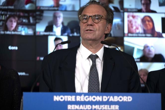 Le président sortant de la région PACA, Renaud Muselier, présente sa liste pour les élections régionales de juin, à Marseille, le 14 mai 2021.