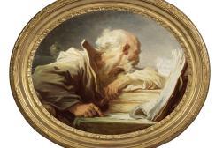 Philosophe lisant, une toile de format ovale de Jean-Honoré Fragonard,
