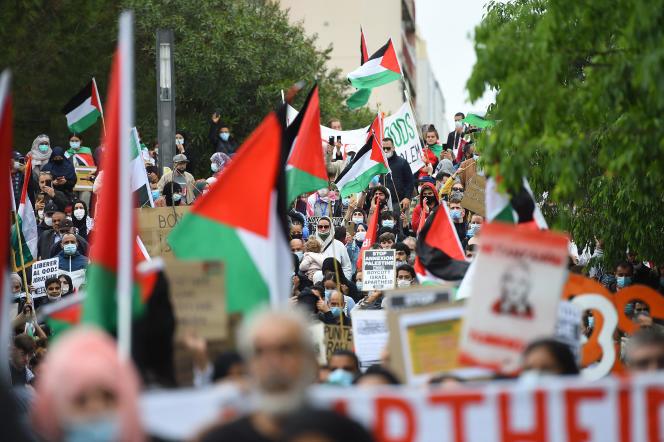 Manifestation ensoutien au peuple palestinien à Montpellier, le 15 mai 2021.