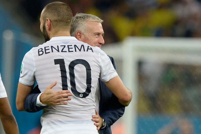 Didier Deschamps dan Karim Benzema selama Piala Dunia FIFA di Stadion Maracana di Rio de Janeiro, pada Juni 2014.