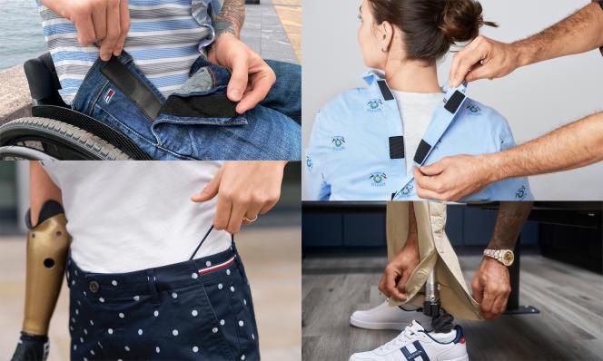Fermetures auto-agrippantes sur un jean ou à l'arrière d'une chemise, taille ajustable ou pantalons à ouverture aimantée sur le côté sont des spécificités de la ligne Tommy Adaptive de Tommy Hilfiger.