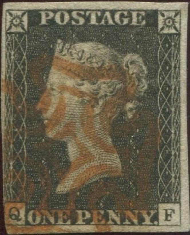 Le« Penny Black», premier timbre-poste du monde paru en 1840 en Grande-Bretagne, oblitéré d'une Croix de Malte rouge.