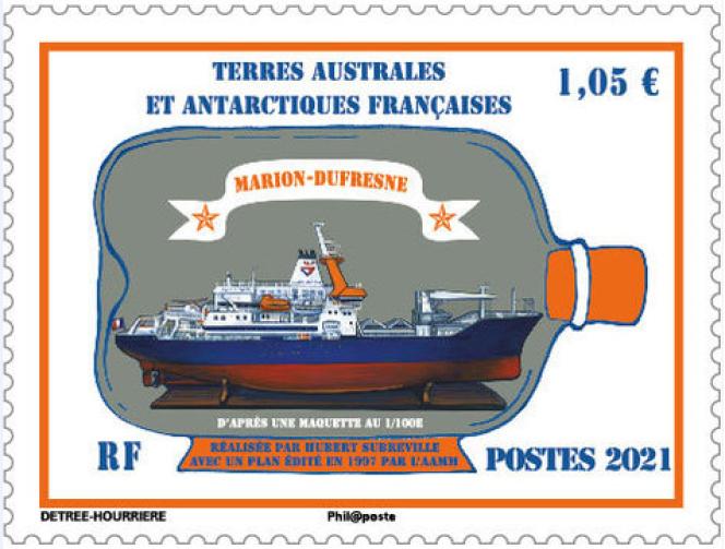 Timbre signé Marie Détrée-Hourrière, pour les TAAF.
