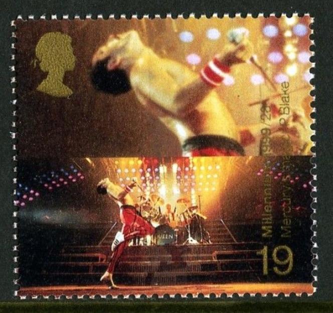 « Freddie Mercury», timbre de la Royal Mail paru en 1999 (https://shop.royalmail.com/special-stamp-issues/queen).