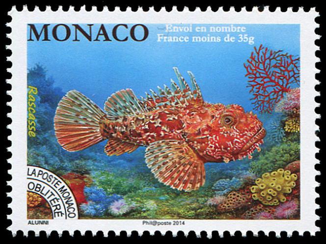 « Rascasse», par Marie-Christine Lemayeur et Bernard Alunni, timbre de Monaco (2014).