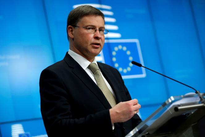 Le vice-président de la Commission européenne, Valdis Dombrovskis, à Bruxelles le 20 mai 2021.