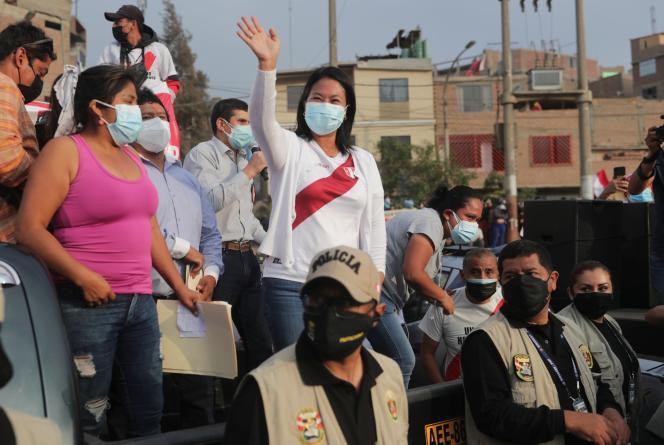 Kandidat presiden sayap kanan Peru Keiko Fujimori, yang akan menghadapi lawan sosialis Pedro Castillo pada putaran kedua pada 20 Mei 2021 di Lima, Peru.