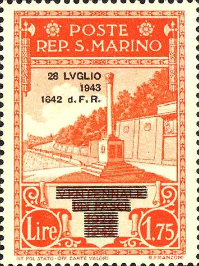 Recyclage des timbres de la série non émise du« Ventennio» par le nouveau régime, en 1943, après surcharges.