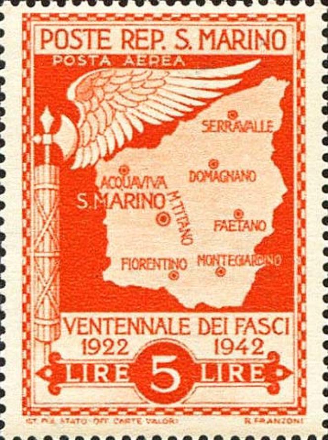 Timbre non émis sur le thème du «Ventennio» pour cause de chute du régime en 1943.