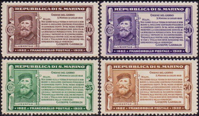 Timbres de Saint-Marin à l'effigie de Garibaldi parus en 1932, en plein« Ventennio», avec le symbolique faisceau.