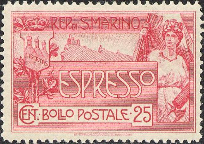 Timbre de 1907 de Saint-Marin sur lequel apparaît un faisceau de licteur, décoréllé de toute conotation fasciste bien sûr.