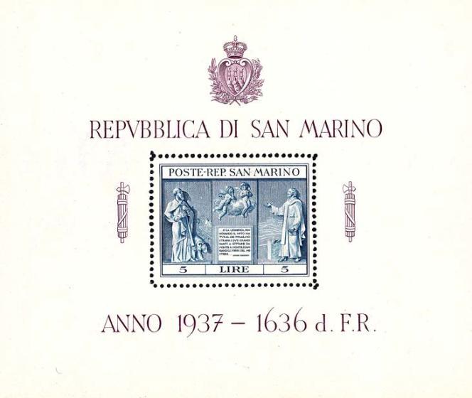 Bloc-feuillet paru en 1937, édité par la poste de Saint-Marin, avec les incontrounables faisceaux de licteur et la double datation par rapport à la date de la fondation mythique de Saint-Marin.