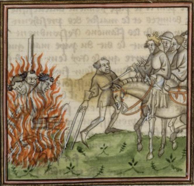 Exécution et mise au bûcher des lépreux et des juifs, XIVesiècle,Grandes Chroniques de France (BNF, FR 2606).