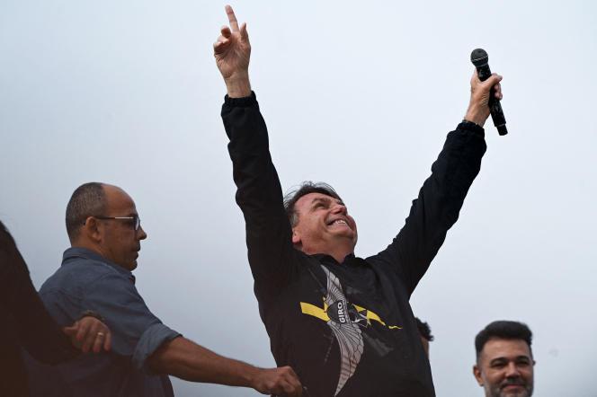 Der brasilianische Präsident Jair Bolsonaro während einer Rede am Denkmal der brasilianischen Veteranen des Zweiten Weltkriegs in Rio de Janeiro am 23. Mai 2021.