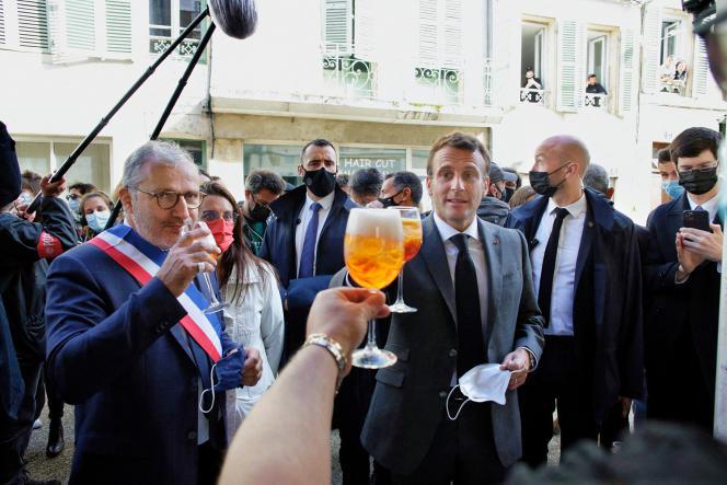 Emmanuel Macron, visiting Nevers, May 21, 2021.